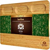 Extra Large Bamboo Cutting Board/Cheese and Charcuterie Board/Serving Tray with Built-In Compartments and Juice Groove - Wooden Chopping Board for Meat, Vegetables, Fruit and Cheese (12 x 18')