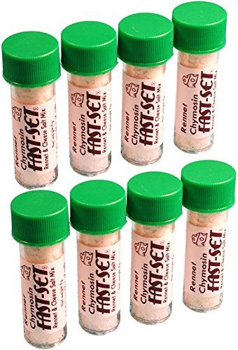 8 X Rennet Chymosin Fast-Set 7 gram Mix voor 50 liter melk Rennin Kaas zout & Coagulant Tub.