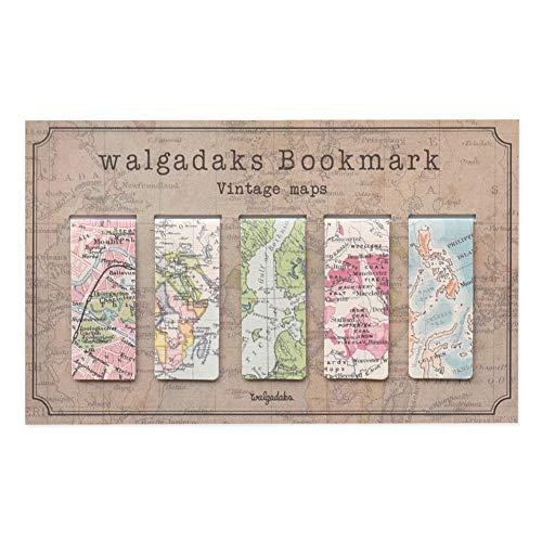 Monolike Magnetic Bookmarks Vintage Maps, Set of 5
