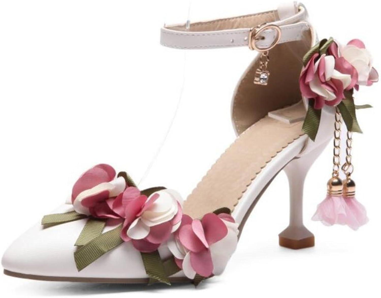 FLYSXP Kvinnors PU Points to High klackar klackar klackar sommar Sweet Flowers with Buckle Sandals with Court skor stor Storlek 34 -43 Woherrar skor (Färg  vit, Storlek  10 US)  rättvisa priser