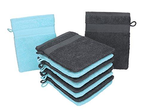 Betz 10 Stück Waschhandschuhe Palermo 100% Baumwolle Waschlappen Set Größe 16x21 cm Farbe anthrazit und türkis