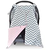 Car Seat Canopy and Nursing Cover Up with Peekaboo Opening - Chevron Soft Pink