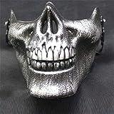 XuBa Cool Skull CS - Máscara de Cara Completa para Motocicleta, Deportes al Aire Libre, para Halloween, Plata