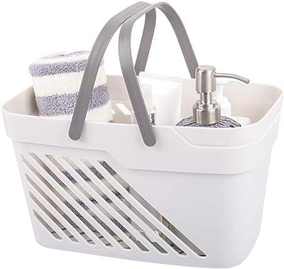 UUJOLY Plastic Organizer Storage Baskets with Handles Storage Bins Shower Caddy Organizer for Bathroom and Kitchen Shampoo, Body Wash, Shower Essentials, Makeup (White)