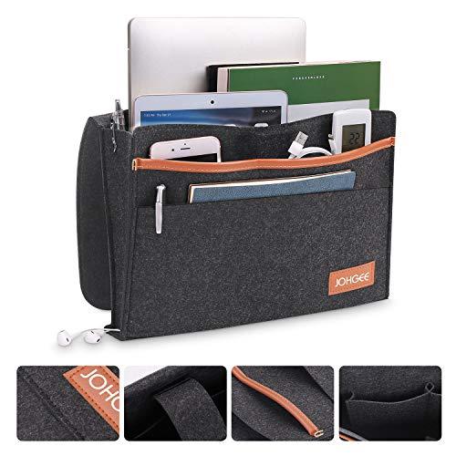 2 Stück Johgee update 5 Taschen Betttasche Bett Organizer Sofa Tasche Hängeaufbewahrung Seitenloch für Aufladungskabel 34.5 x 27cm Schwarz für Bücher, Handy, iPad, Brille, Fernbedienung usw.