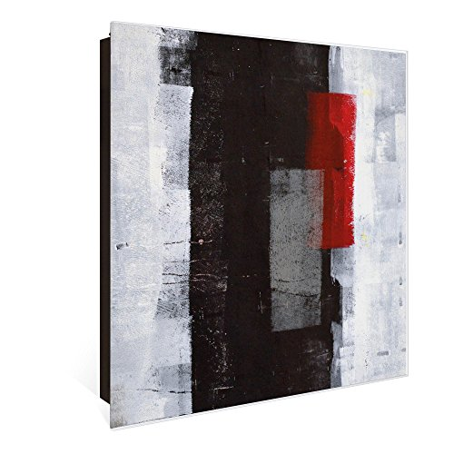 banjado Großer Schlüsselkasten aus Glas | Schlüsselbox mit 50 Haken | beschreibbare Glastür Scharnier Links | als Magnettafel nutzbar | Schlüsselaufbewahrung 30cm x 30cm | Motiv Abstrakt Rot
