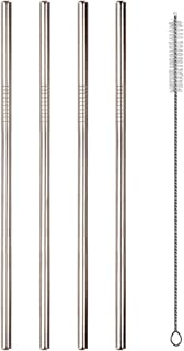 Set of 4 Stainless Steel Straws for 30oz 20oz Tumblers Cups Mugs, Alotpower Metal Drinking Straw with Cleaning Brush for 30 20 Ounce Yeti Rambler Rtic Ozark Trail