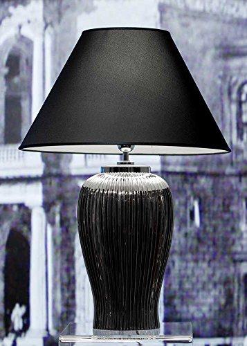 Tafellamp lamp Nobile Platino van keramiek platina-chroom | Tafellamp E27 | Handgemaakt in Italië | Exclusieve lamp met chroom afwerking
