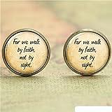 Vintage for we Walk by Faith not by Sight Ohrstecker aus Glas, handgefertigt, Antik-Bronze, christliche Ohrringe für empfindliche Ohren, Schmuck für Frauen