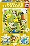 Educa- Animales Salvajes Conjunto de Puzzles Progresivos, Multicolor (17147)