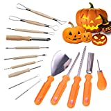 Chiatai - Juego de herramientas para tallar calabazas (15 piezas, acero inoxidable, doble cara, esculpir Halloween DIY decoración