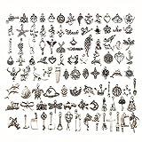 100 Piezas Colgantes Tibetanos del Encanto de Plata Retro al por Mayor Mezclados Dijes Aleación Colgantes para de La Joyería de Bricolaje, Llaveros, Pulseras, Collares, Pendientes