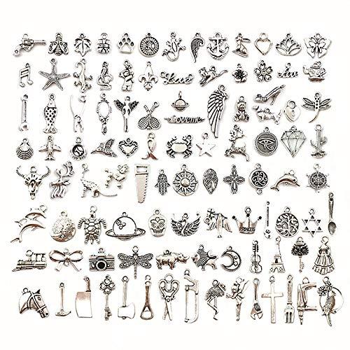100 Stücke Charm Anhänger zum Schmuck Basteln Armband Halskette Ohrring Gemischte Legierung Charms, DIY Charm Anhänger zum Basteln von Bettelarmbändern für Armband Halskette Ohrring, Antik Silber