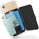 Sinjimoru 貼り付け型スマホカードケース Android iPhone SE 2020など携帯電話やスマホケースの背面に IC SUICAカード収納できる定期入れ 携帯ステッカーポケット。Card Zip ブラック