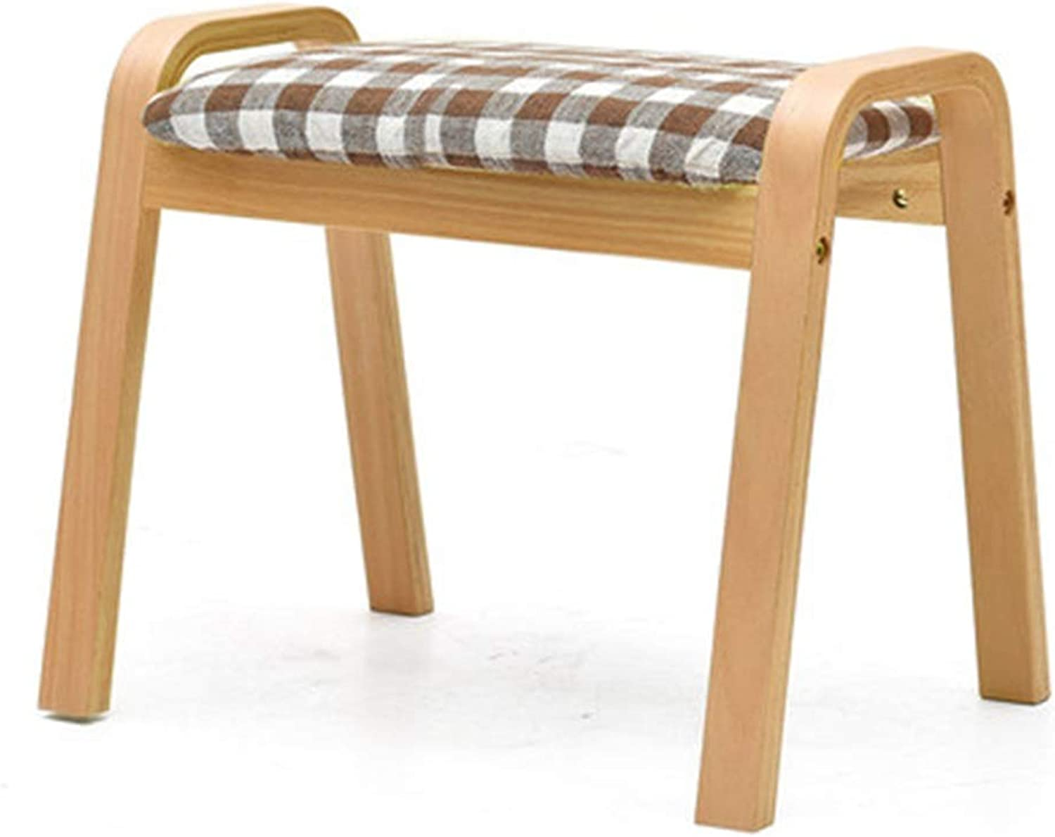 Stools- Wooden Bench- Home Stool Fashion Creative Stool Living Room Solid Wood Bench Fabric Stool Sofa Change shoes Bench HATHOR-23 (color   D, Size   Log color Stool Legs)