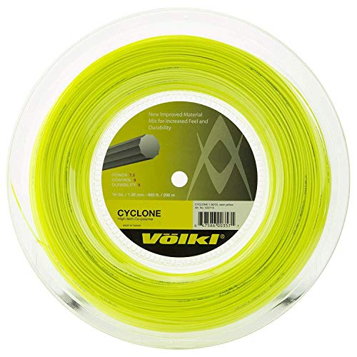 Volkl Cycloon Tennis String – 200m Reel, Kleur- Geel, Meter- 1.30mm