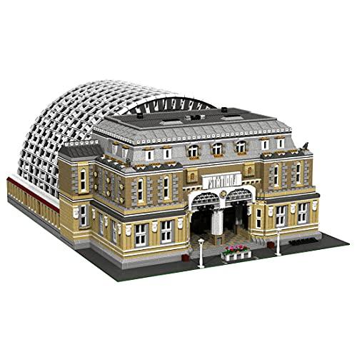 LTGO Technik Architecture Baustein Modell, 12618 + mattoncini di fissaggio per la stazione ferroviaria europea MOC, giocattolo da costruzione, compatibile con Lego
