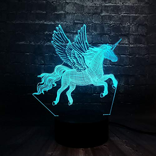 Suhang Roman 3D Lava vleugels vliegen eenhoorn paard LED baby slaapkamer tafel 7 kleuren USB opladen romantisch maan nacht licht verjaardag Switch 3 Color