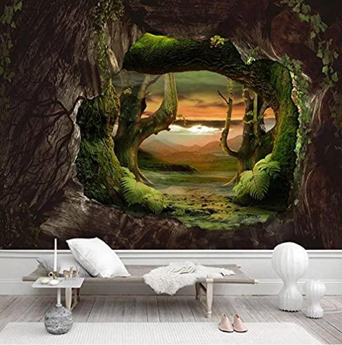 Papel tapiz fotográfico 3D Cueva Pared de piedra Bosque primitivo Mural grande Sala de estar Dormitorio Revestimiento de paredes Papeles de pared Decoración para el hogar-150 * 105cm