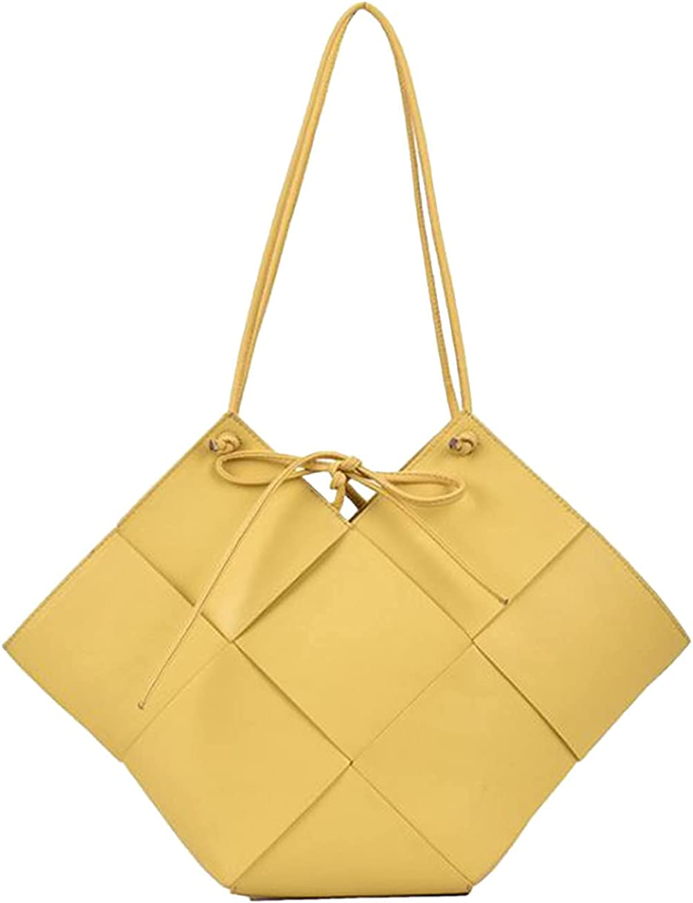 Womens NEW before selling Discount is also underway Top Handle Tote Bags irregular Size Woven Large Shape Pu