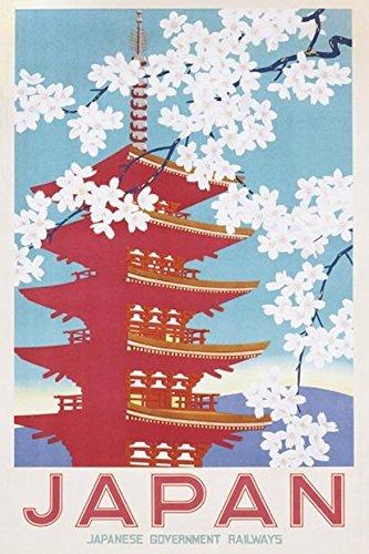 """Póster de Japón """"Japanese Government Railways/ Ferrocarriles del Gobierno Japonés"""" (61cm x 91,5cm) + 1 Póster con motivo de paraiso playero"""