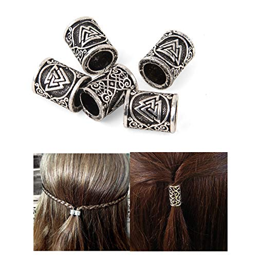 Viking Beard Beads for Hair-Dreadlock Hair Braid Beads Triquetra Celtic Knot Magic Symbol Runes Beads for Beards Hair Thors Bead Celtic Jewelry Brutalist Scandinavian DIY Beard Hair Beads 5PCS/set
