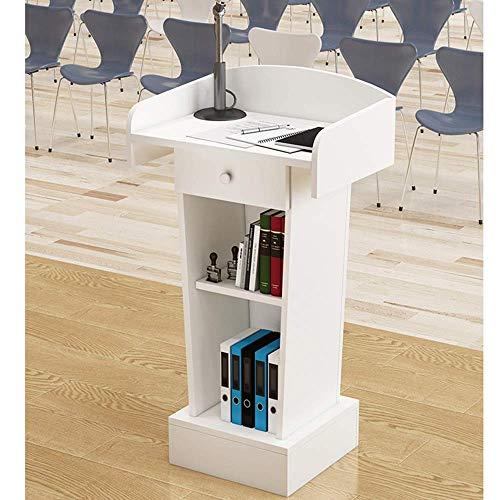 PULLEY -L Rednerpult Präsentationspodium Kirche Lecture Stand Holz Podium Laptop Computer für Kirche Schule Präsentation (Farbe: Braun, Größe Seilzug-L (Farbe: Weiß, Größe: wie abgebildet)