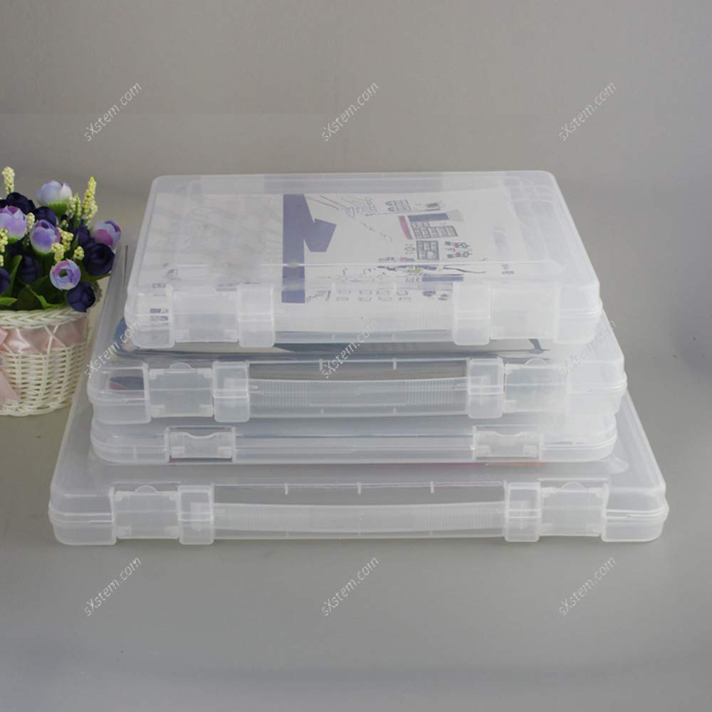 Yizunnu Caja de almacenamiento de archivos portátil, transparente, plástico protector de documentos, organizador de papel de escritorio, contenedor de colecciones, color transparente 27x20x4.5cm: Amazon.es: Oficina y papelería