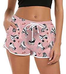 SOFT & COMFY: Women swim trunks made of 100% Polyester with Grenadine, Quick-drying and Breathable, Covered elastic waistband with drawstring NOVETLY DESIGN: 3D printing cut beach shorts,Funny and fashinal Graphic. Without ever fading, cracking, peel...