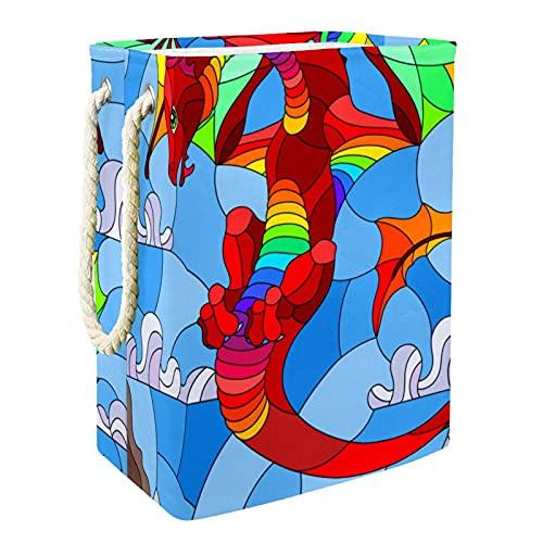 EZIOLY Cesta de lavandería con diseño de dragón, vidriera, plegable, con asas, soportes desmontables, resistente al agua, para ropa, juguetes, organización en la sala de lavandería, dormitorio