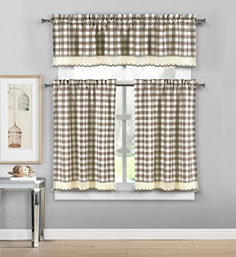 Duck River Textiles - Queenston Country Plaid Gingham Checkered Kitchen Tier & Valance Set | Small Window Curtain for Cafe, Bath, Laundry, Bedroom - (Taupe)