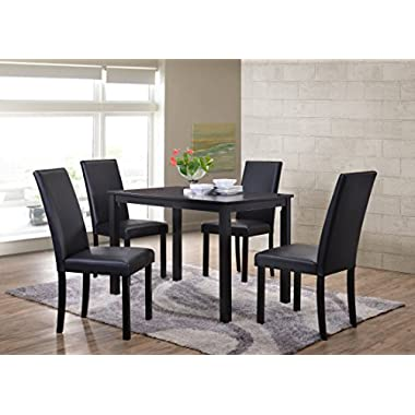 Kings Brand Wood Dining Dinette - Kitchen Table & 4 Upholstered Parson Chairs (Black)