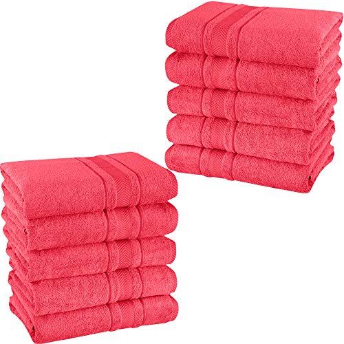 Mixibaby – Juego de 10 toallas de invitados, toallas de ducha, toallas de baño, rizo, 100% algodón, color: rosa, tipo de producto: toallas de ducha de 70 x 140 cm