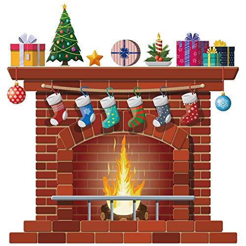 Savlot creatieve muurstickers Kerstmis open haard muurdecoratie sticker decoratieve venster sticker kunst wandafbeeldingen Vrolijk kerstversiering