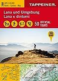 3D-Wanderkarte Lana und Umgebung: Cartina escursionistica 3D Lana e dintorni (Kombinierte Sommer-Wanderkarten Südtirol / Topografische Karte + 3D-Panoramakarte)