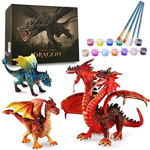 Kids Crafts, DIY 3D Dragon Painting Toys with 13 Color Educational Toy Painting Set Paint Your Own Gift Art and Craft Kit for Kids Boys Girls 3 4 5 6 7 8 9 Year Old