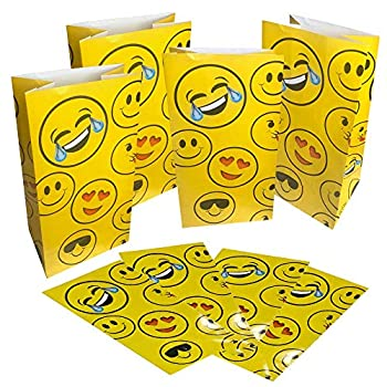 ArtCreativity Emoji Party Favor Bags Pack of 12 Emoticon Themed Goodie Gift Paper Bags Durable Treat Bags Emoji Party Supplies and Favors for Birthday Baby Shower Holiday Goodies