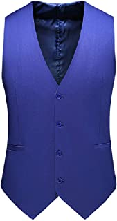 MU2M Men Hipster Slim Fit Solid V-Neck Dinner Dress Vest Waistcoat