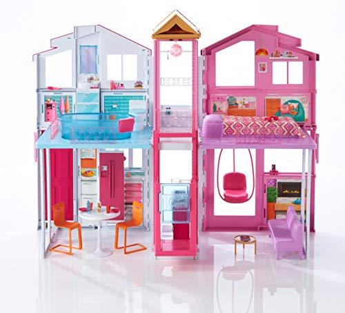 Barbie DLY32 - 3 Etagen Stadthaus Puppenhaus mit 4 Zimmer, Aufzug und Zubehör, ca. 75 cm hoch, Mädchen Spielzeug ab 3 Jahren