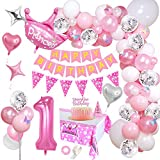 AYUQI Decorazioni per Feste di Compleanno con Cake Topper DIY, Happy Birthday Banner di Buon Compleanno, Rosa Palloncini con Coriandoli con Lettere, per Ragazza Compleanno Decorazioni Feste (Pink 1st)