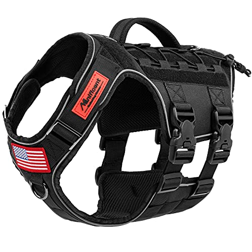 Manificent Tactical Dog Harness Full Body for Large Dogs, Reflective No Pull Service Dog Vest with Handle American Flag Patch, Military Dog Vest - for Training Hiking Hunting Working Harness