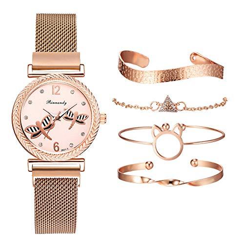 Powzz - Reloj de pulsera con diseño de libélula, de cuarzo, color dorado y correa