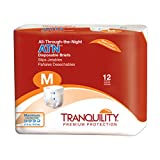 Tranquility ATN Adult Disposable Briefs with All-Through-The-Night Protection, M (32'-44') - 12 ct