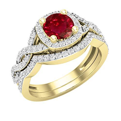 Dazzlingrock Collection Juego de anillos de boda de 5,8 mm redondos con diamantes blancos y rubíes retorcidos para mujer, estilo halo infinito, oro amarillo de 18 quilates, talla 6