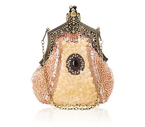 Bolso de mano con cuentas bordadas para mujer, bolso de noche, hecho...