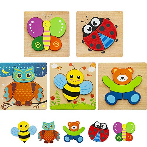 HZONE Wooden Jigsaw Puzzles for Toddlers 1 2 3 Years Old, (5...