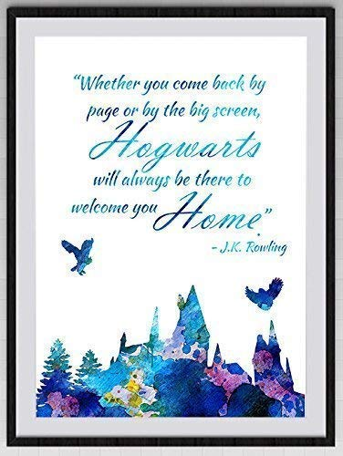 Hogwarts Castle Inspired Quote Watercolor Art Print