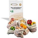 ECENCE Set de 6 bolsas para fruta y verdura bolsas de red de algodón...