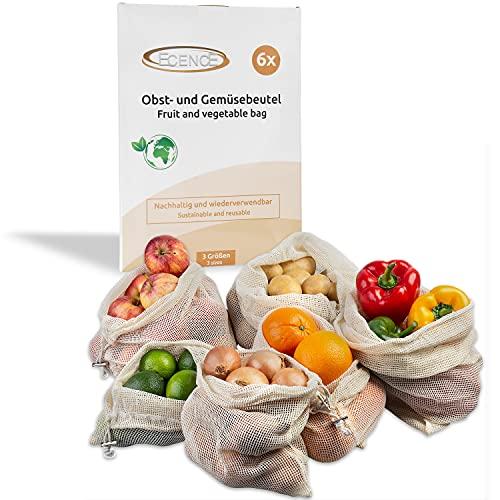 ECENCE Obst- und Gemüsebeutel, 6 Stck. in 3 Größen, wiederverwendbares Einkaufsnetz, Baumwollnetz, plastikfreier Brotbeutel, waschbar 32040106