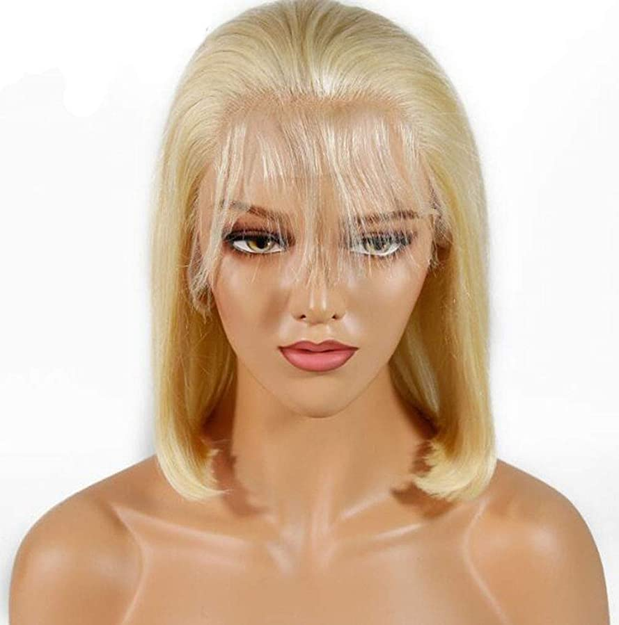 速記大事にする序文かつらかつらブロンドプリ撥ヘアライングルーレスショートボブ夏輝くレースフロント人間の髪の毛ブラジルのバージンヘア 130% 密度,10inch